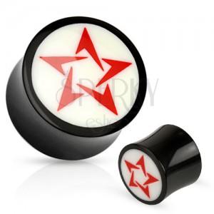Okrúhly čierno-biely plug do ucha z prírodného materiálu, červená hviezda