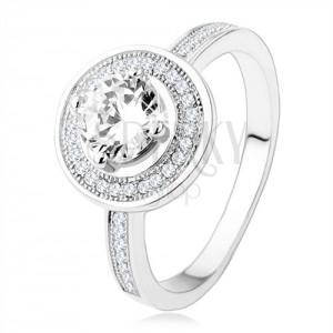 Zásnubný strieborný prsteň 925, kruh a ramená zdobené zirkónmi, číry kameň