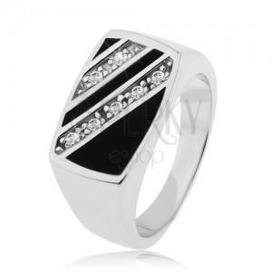 Strieborný prsteň 925, obdĺžnik - šikmé línie čírych zirkónov, čierna glazúra