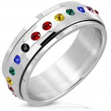 Lesklý oceľový prsteň - otáčavý stred, zirkóny vo farbách dúhy