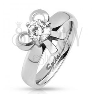 Zásnubný oceľový prsteň s mašličkou a okrúhlym kamienkom