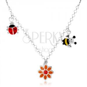 9e61b5227 Strieborný náhrdelník 925 pre deti, farebná lienka, kvietok, včielka ...