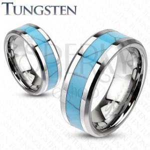 Wolfrámový prsteň, tyrkysový pás s mramorovým vzorom, skosené hrany