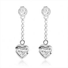 71700f246 Šperky eshop - Puzetové náušnice zo striebra 925, symetrické zirkónové  srdce čírej farby SP44.13