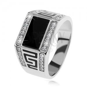 Strieborný prsteň 925, čierny obdĺžnik, číre ligotavé kamienky, grécky kľúč