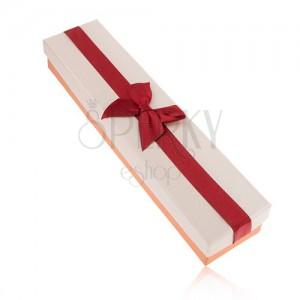 Darčeková krabička na retiazku, oranžová, bordová a béžová farba, mašľa