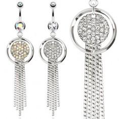 Oceľový piercing do bruška, obrys kruhu a kruh vykladaný kamienkami, retiazky
