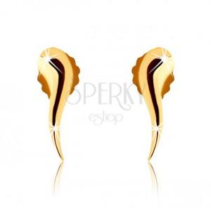 Zlaté puzetové náušnice 375 - lesklá hladká zvlnená kvapka