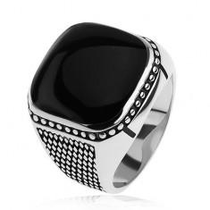 Strieborný prsteň 925, malé kosoštvorce, guličky, čierny vypuklý štvorec