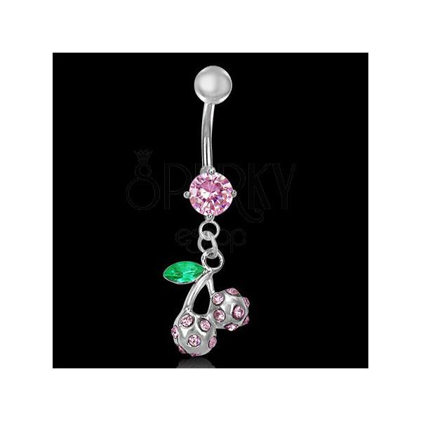 Piercing brucha ružové čerešňe s listom