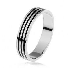 Strieborný prsteň 925, tri tenké čierne pásiky po obvode