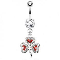 Oceľový piercing do pupku, trojlístok, číre a červené ligotavé kamienky