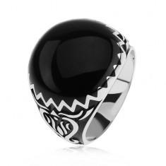 Prsteň zo striebra 925, čierne zdobenie, cik cak vzor a ornamenty