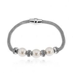 Šperky eshop - Náramok na ruku z ocele, perleťové korálky, kolieska, strieborná farba SP39.04