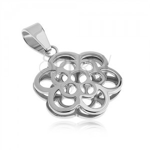 Obojstranný prívesok z ocele, kontúra kvetov, strieborná farba