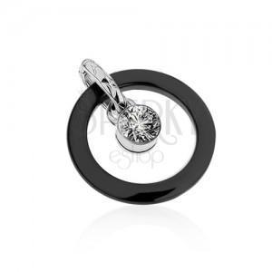 Čierny keramický dvojprívesok, kontúra kruhu, okrúhly číry zirkón