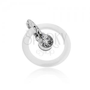 Prívesok - biely keramický obrys kruhu, oceľové očko s čírym zirkónom