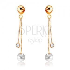 Náušnice zo žltého 9K zlata - dve retiazky, perla a číry kamienok