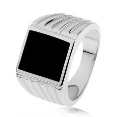 Strieborný prsteň 925, ramená so zárezmi, čierny glazúrovaný obdĺžnik