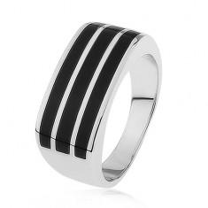 Lesklý strieborný prsteň 925, tri vodorovné pásy s čiernou glazúrou