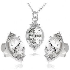 Šperky eshop - Strieborný set 925, náhrdelník a náušnice, číry zirkónový ovál a lístky S82.12