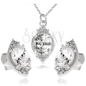 Strieborný set 925, náhrdelník a náušnice, číry zirkónový ovál a lístky