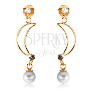 Zlaté náušnice 375 - obrys kosáka mesiaca zdobený zafírom a perlou