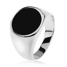 Prsteň zo striebra 925, zrkadlovolesklé ramená, čierny glazúrovaný kruh