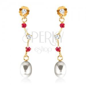 Náušnice v žltom 9K zlate - rubíny a zirkón na asymetrickej paličke, oválna perla