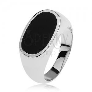 Strieborný prsteň 925, ovál s čiernou glazúrou, lesklé a rozšírené ramená