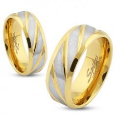 Obrúčka zlatej farby z ocele, matné šikmé pásiky v striebornom odtieni, 8 mm