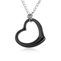 Oceľový náhrdelník, čierna keramická kontúra srdca, retiazka striebornej farby