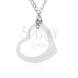 Oceľový náhrdelník striebornej farby, obrys bieleho keramického srdca