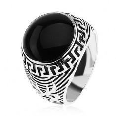 Prsteň zo striebra 925, čierny glazúrovaný kruh, ornament gréckeho kľúča