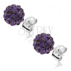 Oceľové náušnice Shamballa - trblietavá fialová guľôčka so zirkónmi, 8 mm