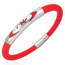 Okrúhly gumený náramok - jašterička v elipse, červený