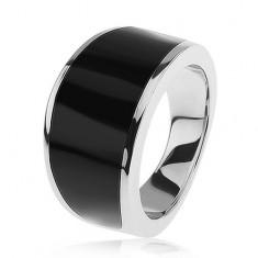 Strieborný 925 prsteň - čierny glazúrovaný pás, lesklý a hladký povrch