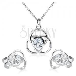 Náušnice a náhrdelník zo striebra 925, obrys kvetu, okrúhle lupene, zirkón