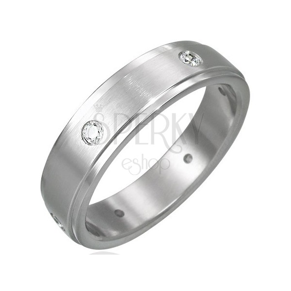 Oceľový prsteň matný - 6 zirkónov po obvode