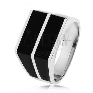 Strieborný 925 prsteň - dve vodorovné línie čiernej farby, hladký povrch