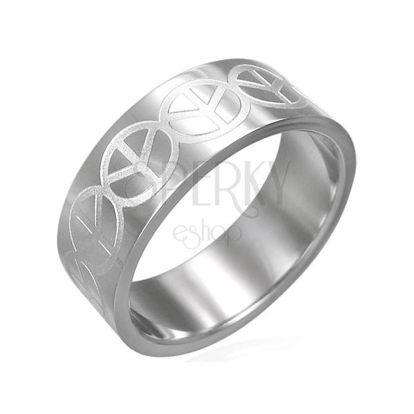 Prsteň z chirurgickej ocele - so znakom Peace