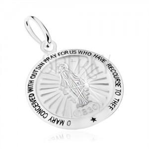 Prívesok zo striebra 925, motív Zázračnej medaily - Panna Mária, modlitba