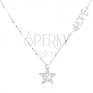 "Strieborný náhrdelník 925 - jemná retiazka, číra zirkónová hviezda, nápis ""HOPE"""