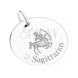 Prívesok - okrúhla známka, znamenie STRELEC, číry kamienok, striebro 925