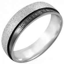 Oceľový prsteň s nápisom - You are always in my heart