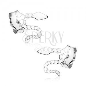 Puzetové náušnice z bieleho 9K zlata - zvlnený gravírovaný had