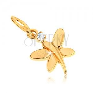 Zlatý prívesok 375 - lesklý motýlik zdobený okrúhlym zirkónom v čírej farbe