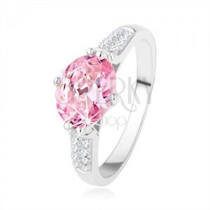 Zásnubný strieborný prsteň 925, oválny ružový zirkón, číre drobné zirkóniky