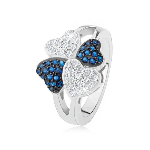 Prsteň zo striebra 925, štyri srdiečka - drobné číre a modré kamienky