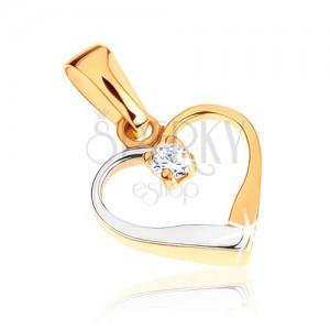Zlatý dvojfarebný prívesok 375 - kontúra symetrického srdca, číry zirkónik